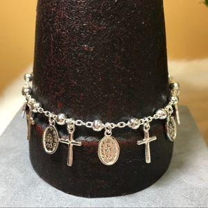 NWT Sterling Religious Dangle Medal Cross Bracelet